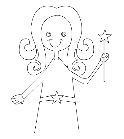 Drawing of a fairy to color