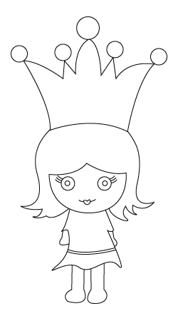 Drawing of a princess to color