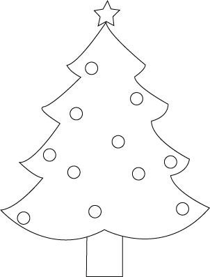 Christmas fir-tree drawing to color